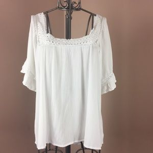 Maurices white boho square lace neckline top